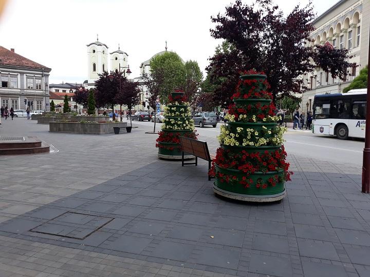 Постављене цветне пирамиде у граду